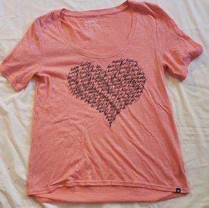 Semi-translucent, coral oversize T-shirt